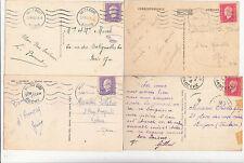 Lot 4 cartes postales timbrées timbres libération 1944 croix de lorraine 7