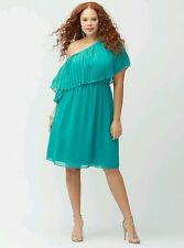 LANE BRYANT PLUS SIZE TEAL CHIFFON LINED PLEATED ONE SHOULDER DRESS Sz 26/28