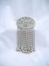 Vintage Big Diamond Cut Metal & Tassel Ball Brooch Sarah Coventry