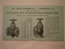 ANTIQUE EARLY 1900's JUDSON STEAM VALVES & GOVERNORS ROCHESTER NY TRADE CARD