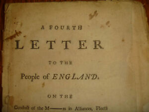 1756 John Shebbeare, A Fourth Letter to the People of England, pirate edition?