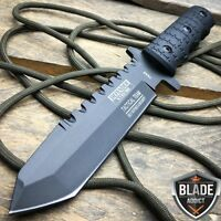 "9"" Full Tang Tactical Hunting Survival Knife w/ Sheath Military Bowie Combat"