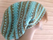 "Aqua Blue & Green tam Hat hippie Rasta handmade Crochet Huge xL 14-15"" Deep 24"""