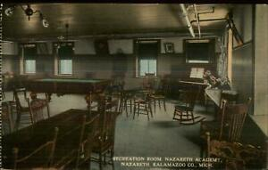 Kalamazoo MI Nazareth Academy Billiards Red Room c1910 Postcard