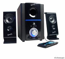 COMPUTER PC MAC LAPTOP SUPERSONIC SPEAKER SYSTEM SUBWOOFER USB SD INPUT FM RADIO