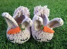 Patucos Beige 3/6 Zapato Bebe Recién Nacido Conejito Nuevo Artesanal Croche