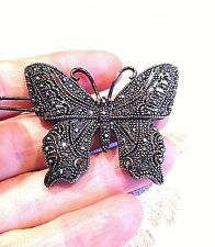 Vintage Antique Style HemetiteBlack Austrian Crystal Butterfly Hair Pin Barrette