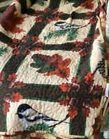 """Finished Quilted Blanket Spread Throw Birds Pinecones Acorns Reverses 84""""X101"""""""