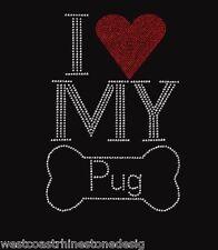 I Love My Pug Rhinestone Iron on Transfer       H6QA
