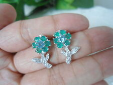 Natural Blue TOPAZ, Green AGATE & CZ Stones Sterling 925 Silver Flower EARRINGS