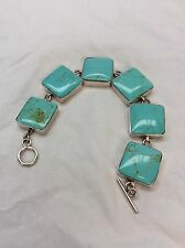 Beautiful  Mexico sterling 925 blue Turquoise Toggle Bracelet