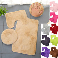 3 Pcs / Set Bathroom Bath Mat Floor Toilet Seat Cover Anti-slip Mats Home Decor