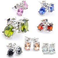 Xmas Gift Oval Blue Pink Topaz Morganite Agate Silver Dangle Hook Stud Earrings