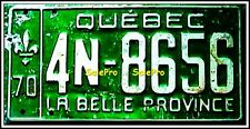 CANADA 1970 QUEBEC LA BELLE PROVINCE GREEN ON WHITE 4N-8656 RARE LICENSE PLATE
