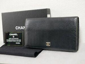 Chanel long wallet purse black leather gold Authentic #4460P