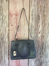 RALPH LAUREN WOMEN'S PEBBLED LEATHER FAIRFIELD TOTE BAG WITH STRAP BLACK $328