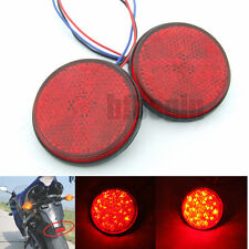 2pcs Motorcycle Round 12V Red 24LED  Reflector Tail Brake Turn Signal Light Lamp