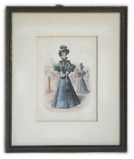 ANTIQUE FASHION PRINT HAND PAINTED FRAMED and MATTED under GLASS
