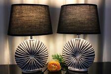 2 Deko Skulptur Lampen grau schwarz Nachttischlampe Tischlampe Leuchte Keramik
