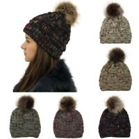 Men Ladies Cable Knitted Bobble Hat Slouch Plain Beanie Warm Winter Bom Wool Cap