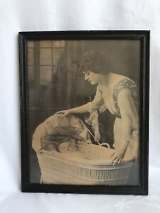 Antique Mother Baby Wicker Cradle Bassinet Hand Tinted Original Print Framed