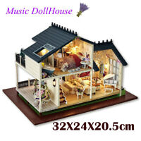 Wooden LED DIY Loft Apartments Dollhouse Furniture Kit Doll House Toys Kids Gift