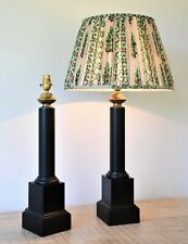 A Pair of Mid C French Empire Style Column Brass Side Table Hall Lamps