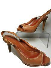 Sergio Rossi women pump sandals shoes brown heels slingback peep-toe 7.5 39.5