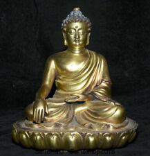 "8.4"" Marked Old Tibet Bronze 24K Gilt Gold Shakyamuni Amitabha Buddha Sculpture"