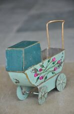 Vintage Fine Small Handcrafted Painted Pram Tin Toy , Collectible