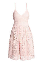 H&M LIGHT BABY PINK PEACH FLORAL LACE MIDI DRESS PROM RACES PARTY 12 38 8 10 36