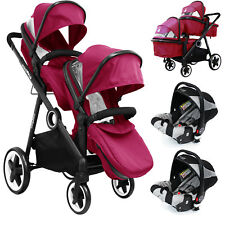 iSafe Tandem Pram Me&you - 2 Tone Red (red) With Car Seat and 3 Rain Cover