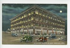Motor Mart Building at Night w LOTS of ANTIQUE CARS Automobiles SIOUX CITY 1910s