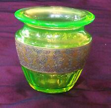 Vase Art-Déco Moser ouraline frise oroplastic eau-forte - uranium glass