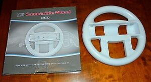 NINTENDO WII Wii WHITE STEERING WHEEL CONTROLLERS BOXED & IN VGWC + FREE UK POST