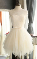Vintage Tea Length White Ivory Wedding Dress A Line Lace Bridal Gown Custom Size