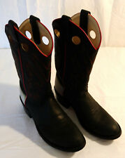 Old West Cowboy Boots Boys Sz 070 Roper Leather Western Black Red Gray Buckaroo