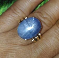 15.04CT ESTATE NATURAL UNTREATED GRAYISH BLUE STAR SAPPHIRE 10K YELLOW GOLD RING