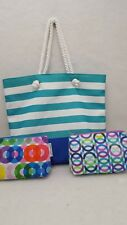 New Clinique Tote Shopper Travel Beach Vacation Bag w/ 2 Coordinated Acc. Bags