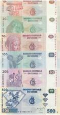 Congo 2002-2007 year 10+20+50+100+200+500 Francs Set 6pcs BrandNew Banknote