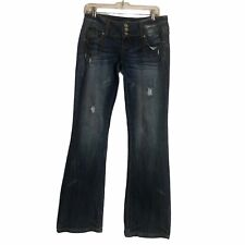 Almost Famous Thick Stitch Distressed Denim Blue Jeans Dark Wash Low Rise 9