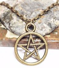 """PENTAGRAM_Bronze Pendant on 18"""" Chain Necklace_Wiccan Pagan Pentacle Witch_118N"""