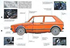 VW Volkswagen Golf GTI  Germany Allemagne 1976 Car Auto FICHE FRANCE