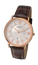 Limit Men's Silver Dial  & Rose Gold Tone Watch Brown Strap