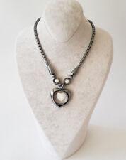 Halskette Kette Hämatit Stein(Blutstein) In Herz Form Mit Beige Perlen
