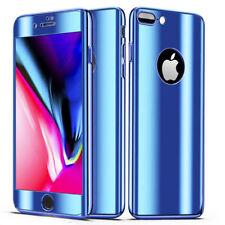Coque Full 360 Hybride Effet Miroir Bleu + Vitre Verre Trempé pour Apple iPhone