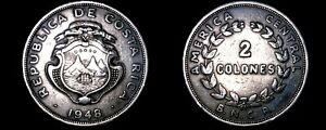 1948 Costa Rican 2 Colones World Coin - Costa Rica
