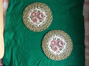Brokat-Deckchen Vintage, teils Metallfäden, Samtrücken
