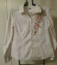 Banana Republic  Blouse Shirt Embellished Embroidered Medium Flower