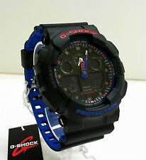 New Casio G-Shock Tricolor Black/Blue Layers Band World Time Watch GA-100LT-1A